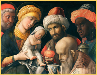 Adoración de los Magos por Andrea Mantegna